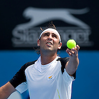 Marcus Baghdatis (CYP) against Nick Lindahl (AUS) in the fist round of the men's singles. Baghdatis beat Lindahl 6-2 7-5 ..International Tennis - Medibank International Sydney - MON 11 Jan 2010 - Sydney Olympic Park  Tennis Centre- Sydney - Australia ..© Frey - AMN Images, 1st Floor, Barry House, 20-22 Worple Road, London, SW19 4DH.Tel - +44 20 8947 0100.mfrey@advantagemedianet.com