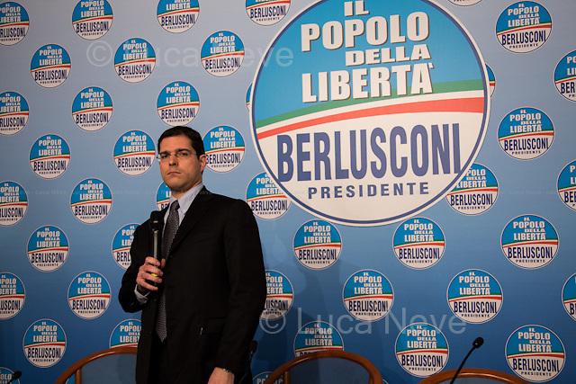 17:35 - On. Daniele Capezzone, member of the Chamber of Deputies and spokesman for the PDL. <br /> <br /> Rome, 25/02/2013. Reportage covering the second day of the Italian General Election, including the campaign HQ's of the Rivoluzione Civile - Antonio Ingroia, the PDL (Popolo della Libert&aacute;) - Silvio Berlusconi, and the Scelta Civile - Mario Monti.