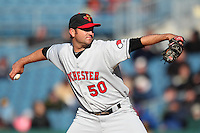 Rochester Red Wings relief pitcher Brendan Wise #50 delivers a pitch during the opening game of the International League season against the Syracuse Chiefs at Alliance Bank Stadium on April 5, 2012 in Syracuse, New York.  Rochester defeated Syracuse 7-4.  (Mike Janes/Four Seam Images)