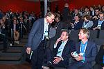 BUSSUM - Jeroen Stevens met Lodewijk Klootwijk en Willem Zelsmann (president NGF)   Nationaal Golf Congres & Beurs. COPYRIGHT KOEN SUYK