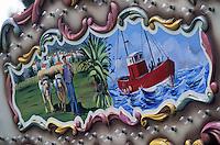 Europe/France/Aquitaine/64/Pyrénées-Atlantiques/Saint-Jean-de-Luz: Détail de la décoration d'un manège forain représentant la ville et le pays basque