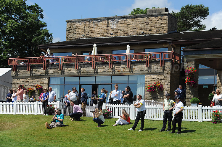 Supporters watching from the clubhouse during The 2017 Celebrity Cup at the Celtic Manor Resort, Newport, South Wales, 01.07.2017<br /> <br /> <br /> Jeff Thomas Photography -  www.jaypics.photoshelter.com - <br /> e-mail swansea1001@hotmail.co.uk -<br /> Mob: 07837 386244 -