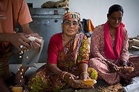 61 year old Bija Devi (center), affectionately known as Bijadidi, is the 'seed bank expert', and has worked with the organization since it was founded. She's known for her knowledge of indigenous seeds. ..Maize that has been harvested and dried, are to be grounded into powder that will be used to make bread in the winter months on Dr. Vandana Shiva's farm in Dehradun, Uttarakhand, India on 5th September 2009. ..Dr. Vandana Shiva is a physicist turned environmentalist who campaigns against genetically modified food and teaches farmers to rely on indigenous farming methods.. .Photo by Suzanne Lee / For The National
