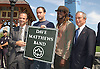 Adrien Benepe, Dave Mattthews, Boyd Tinsley, Mayor .Bloomberg, .at the announcement of Dave Matthews Band concert on September 12, 2003 in Central Park. The concert will be in .Central Park on September 24, 2003. Photo By Robin Platzer, Twin Images