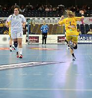 Handball 1. Bundesliga Damen / Frauen - HC Leipzig (HCL) : FA (Frischauf) Göppingen - Arena Leipzig - im Bild:  Natalie Augsburg (HCL) jubelt - Katrin Schröder (l., FA Göpp.) mit versteinerter Mine . Foto: Norman Rembarz..