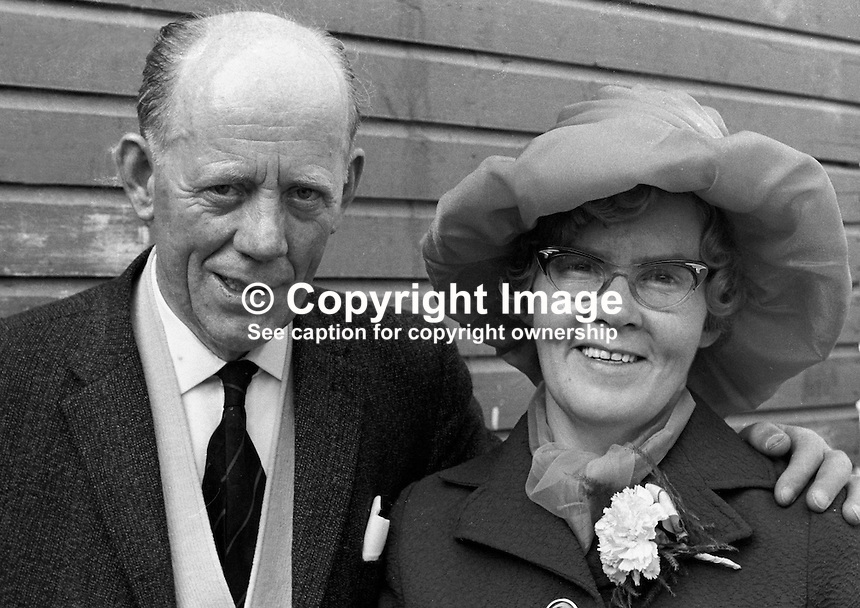 Mr John McGuigan, and wife, Mrs Mary McGuigan, 19 Jamaica Street, Belfast, at a family wedding. 197208260446d.<br />