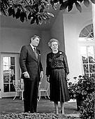 United States President Ronald Reagan and Prime Minister Margaret Thatcher of Great Britain pose for photographers in the Rose Garden outside the Oval Office of the White House prior to their meeting in Washington, D.C. on Wednesday, June 23, 1982.  Thatcher died from a stroke at 87 on Monday, April 8, 2013..Credit: Howard L. Sachs / CNP