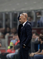 Calcio, Serie A: Milano, stadio Giuseppe Meazza, 15 ottobre 2017.<br /> Inter's coach Luciano Spalletti reacts during the Italian Serie A football match between Inter and Milan at Giuseppe Meazza (San Siro) stadium, October15, 2017.<br /> UPDATE IMAGES PRESS/Isabella Bonotto