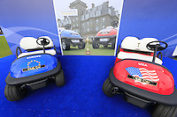 Team buggys on display in the tented village during Tartan Tuesday's Practice day of the Ryder Cup 2014 played on the PGA Centenary Course at the Gleneagles Hotel, Auchterarder, Scotland.: Picture Eoin Clarke, www.golffile.ie: 23rd September 2014