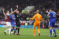 Leicester City's Harry Maguire is shown a red card by Referee Michael Oliver<br /> <br /> Photographer Rich Linley/CameraSport<br /> <br /> The Premier League - Burnley v Leicester City - Saturday 16th March 2019 - Turf Moor - Burnley<br /> <br /> World Copyright © 2019 CameraSport. All rights reserved. 43 Linden Ave. Countesthorpe. Leicester. England. LE8 5PG - Tel: +44 (0) 116 277 4147 - admin@camerasport.com - www.camerasport.com