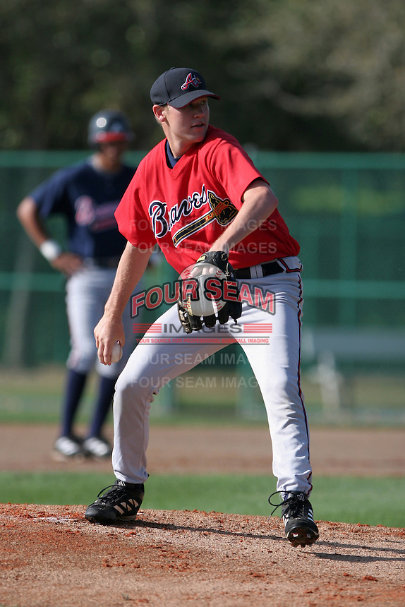 Atlanta Braves minor leaguer Jaye Chapman during Spring Training at Disney's Wide World of Sports on March 15, 2007 in Orlando, Florida.  (Mike Janes/Four Seam Images)