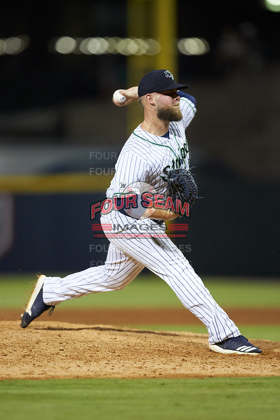 Gwinnett Stripers relief pitcher A.J. Minter (33) in action against the Scranton/Wilkes-Barre RailRiders at BB&T BallPark on August 17, 2019 in Lawrenceville, Georgia. The Stripers defeated the RailRiders 8-7 in eleven innings. (Brian Westerholt/Four Seam Images)