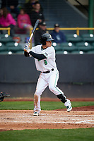 Clinton LumberKings second baseman Bryson Brigman (8) at bat during a game against the Lansing Lugnuts on May 9, 2017 at Ashford University Field in Clinton, Iowa.  Lansing defeated Clinton 11-6.  (Mike Janes/Four Seam Images)