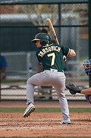 Oakland Athletics second baseman Jordan Tarsovich (7) at bat during a Minor League Spring Training game against the Chicago Cubs at Sloan Park on March 13, 2018 in Mesa, Arizona. (Zachary Lucy/Four Seam Images)