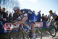 Tom Boonen (BEL/Etixx-QuickStep) preceeds Sep Vanmarcke (BEL/LottoNL-Jumbo) in sector 6A: Sysoing to Bourghelles (1.3km)<br /> <br /> 114th Paris-Roubaix 2016