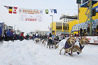 Saturday March 6 , 2010   Jessie Royer leaves the start line of the ceremonial start of the 2010 Iditarod in Anchorage , Alaska
