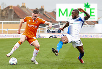 Blackpool's Oliver Turton competing with Bristol Rovers' Abu Ogogo <br /> <br /> Photographer Andrew Kearns/CameraSport<br /> <br /> The EFL Sky Bet League Two - Bristol Rovers v Blackpool - Saturday 2nd March 2019 - Memorial Stadium - Bristol<br /> <br /> World Copyright © 2019 CameraSport. All rights reserved. 43 Linden Ave. Countesthorpe. Leicester. England. LE8 5PG - Tel: +44 (0) 116 277 4147 - admin@camerasport.com - www.camerasport.com