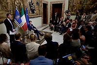Roma, 8 Agosto 2018<br /> Rocco Casalino e Giuseppe Conte<br /> Il Premier Giuseppe Conte incontra la stampa prima della pausa estiva