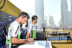 Mark Cavendish (GBR) Team Dimension Data at sign on before the start of Stage 2 The  Ras Al Khaimah Stage of the Dubai Tour 2018 the Dubai Tour&rsquo;s 5th edition, running 190km from Skydive Dubai to Ras Al Khaimah, Dubai, United Arab Emirates. 7th February 2018.<br /> Picture: LaPresse/Massimo Paolone | Cyclefile<br /> <br /> <br /> All photos usage must carry mandatory copyright credit (&copy; Cyclefile | LaPresse/Massimo Paolone)