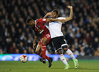 Blackburn Rovers' Ryan Nyambe holds off the challenge from Fulham's Gohi Bi Cyriac<br /> <br /> Photographer /Ashley WesternCameraSport<br /> <br /> The EFL Sky Bet Championship - Fulham v Blackburn Rovers - Tuesday 14th March 2017 - Craven Cottage - London<br /> <br /> World Copyright &copy; 2017 CameraSport. All rights reserved. 43 Linden Ave. Countesthorpe. Leicester. England. LE8 5PG - Tel: +44 (0) 116 277 4147 - admin@camerasport.com - www.camerasport.com