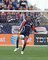 New England Revolution defender Darrius Barnes (25) traps the ball. The New England Revolution out scored the Chicago Fire, 2-1, in Game 1 of the Eastern Conference Semifinal Series at Gillette Stadium on November 1, 2009.
