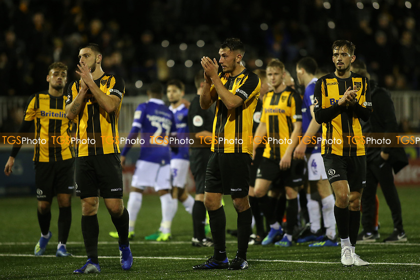 Maidstone players applaud their fans at the end of the match during Maidstone United vs Oldham Athletic, Emirates FA Cup Football at the Gallagher Stadium on 1st December 2018