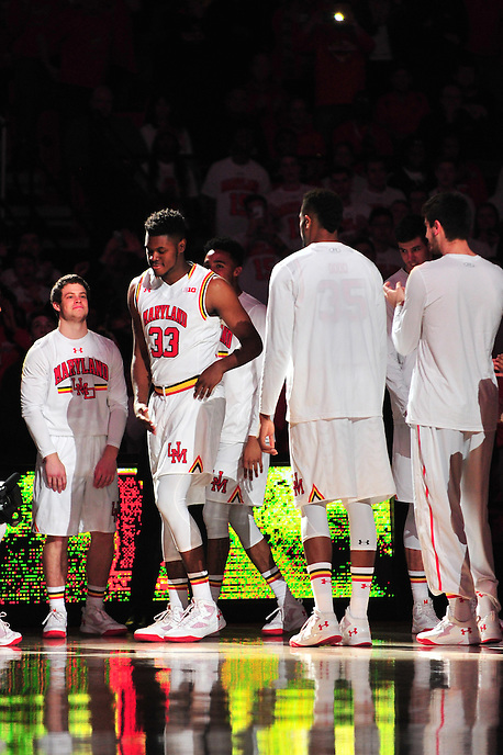 Diamon Stone is introduced prior to tip off against Georgetow at Xfinity Center in College Park, MD on Wednesday, November 17, 2015.  Alan P. Santos/DC Sports Box
