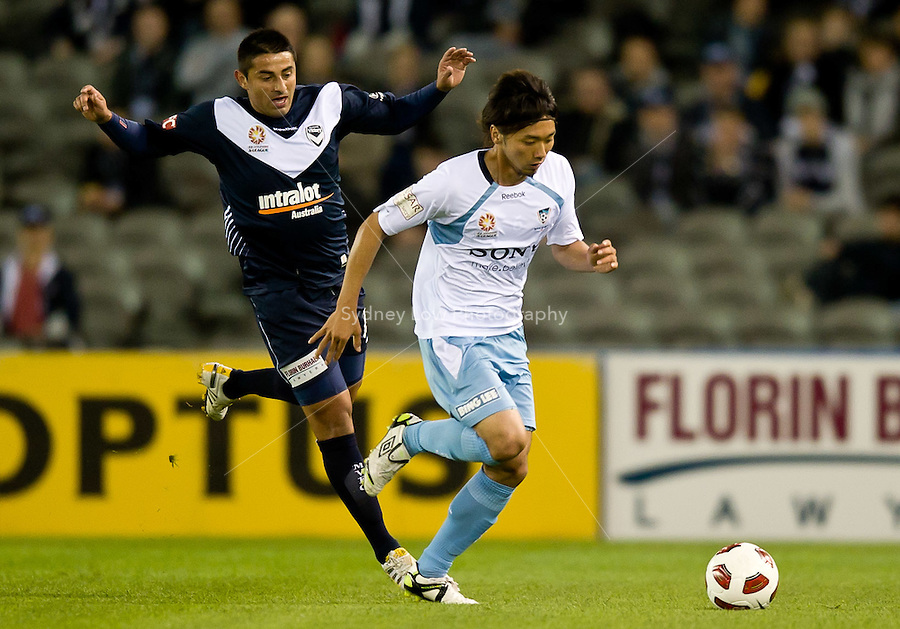 MELBOURNE, AUSTRALIA - OCTOBER 16, 2010: Hirofumi Moriyasu of Sydney FC runs with the ball in Round 10 of the 2010 A-League between the Melbourne Victory and Sydney FC at Etihad Stadium on October 16, 2010 in Melbourne, Australia. (Photo by Sydney Low / Asterisk Images)