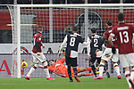 Ante Rebic of AC Milan scores past Gianluigi Buffon of Juventus to giver the side a 1-0 lead during the Coppa Italia match at Giuseppe Meazza, Milan. Picture date: 13th February 2020. Picture credit should read: Jonathan Moscrop/Sportimage