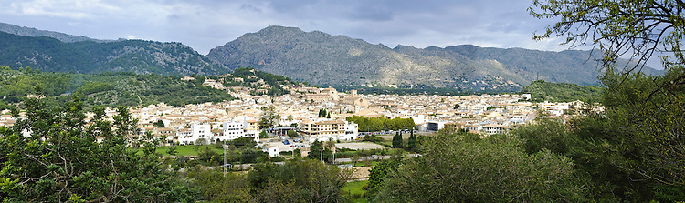 View of the town of Pollenca from the road to Puig de Maria, Majorca, Balearic Islands, Spain