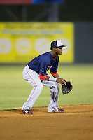 Hagerstown Suns shortstop Edwin Lora (4) on defense against the Kannapolis Intimidators at Kannapolis Intimidators Stadium on July 4, 2016 in Kannapolis, North Carolina.  The Intimidators defeated the Suns 8-2.  (Brian Westerholt/Four Seam Images)