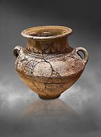Phrygian two handled amphora vessel decorated with geometric designs. 8th-7th century BC . Çorum Archaeological Museum, Corum, Turkey