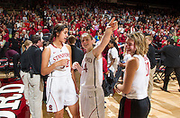 Stanford  Kailee Johnson, and Karlie Samuelson after Stanford women's basketball  vs Washington State game at Maples Pavilion, Stanford, California on March 1, 2014.