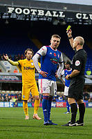 Freddie Sears of Ipswich Town is shown a yellow card from official Andy Woolmer during Ipswich Town vs Preston North End, Sky Bet EFL Championship Football at Portman Road on 3rd November 2018