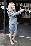 © Joel Goodman - 07973 332324 . 25/09/2016 . Liverpool , UK.  ESTHER MCVEY leaves Peston on Sunday at The Titanic Hotel during a round of Sunday morning political interviews from the Docks in Liverpool,  on the first day of the Labour Party Conference . Photo credit : Joel Goodman