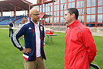 11 January 2015: New York Red Bulls technical director Ali Curtis (left) with New England Revolution head coach Jay Heaps (right). The 2015 MLS Player Combine was held on the cricket oval at Central Broward Regional Park in Lauderhill, Florida.