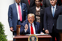 United States President Donald J. Trump declines to take questions form journalists before signing H.R. 7010 - PPP Flexibility Act of 2020 in the Rose Garden of the White House in Washington, DC on June 5, 2020. <br /> Credit: Yuri Gripas / Pool via CNP/AdMedia