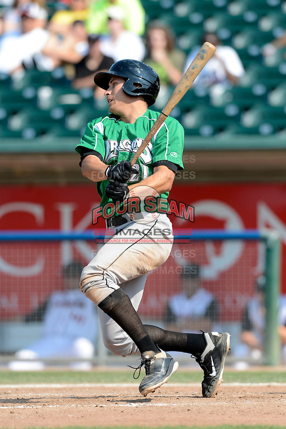 Dayton Dragons first baseman Seth Mejias-Brean (21) during a game against the Lansing Lugnuts on August 25, 2013 at Cooley Law School Stadium in Lansing, Michigan.  Dayton defeated Lansing 5-4 in 11 innings.  (Mike Janes/Four Seam Images)