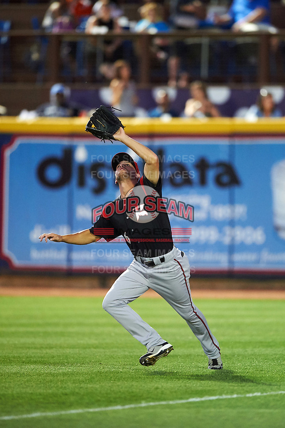 Richmond Flying Squirrels right fielder Hunter Cole (6) catches a fly ball during a game against the Akron RubberDucks on July 26, 2016 at Canal Park in Akron, Ohio .  Richmond defeated Akron 10-4.  (Mike Janes/Four Seam Images)