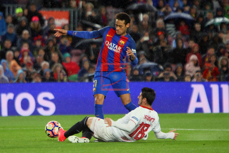 League Santander 2016/2017. Game: 30.<br /> FC Barcelona vs Sevilla FC: 3-0.<br /> Neymar Jr. vs Escudero.