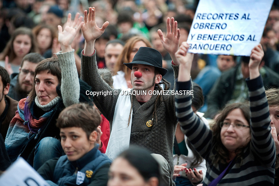 Concentration march 15M members to commemorate the anniversary of the creation of this movement. Which grew out of disenchantment with politicians who run the country..photo © JOAQUIN GOMEZ SASTRE