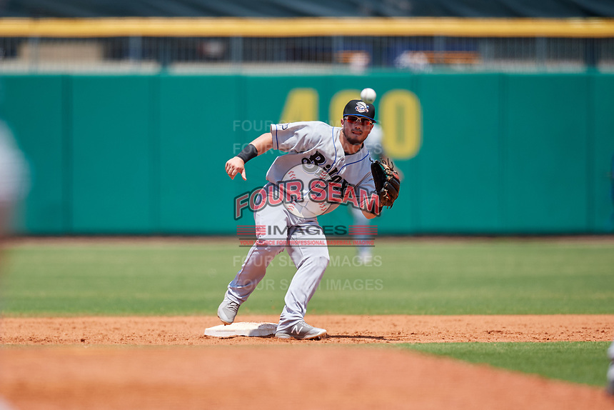 Biloxi Shuckers second baseman Blake Allemand (7) waits to receive a throw on a stolen base attempt during a game against the Montgomery Biscuits on May 8, 2018 at Montgomery Riverwalk Stadium in Montgomery, Alabama.  Montgomery defeated Biloxi 10-5.  (Mike Janes/Four Seam Images)