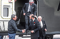 Prince Michael of Kent (with beard) on a visit to aircraft manufacturer, Short Brothers Ltd, Belfast, N Ireland, with the company's managing director, Sir Philip Foreman, disembard following a flight in the Shorts Sherpa, the military version of the better-known Skyvan. Prince Michael, himself a pilot qualified to fly both fixed wing aircraft and helicopters shakes hands with Allan Deacon, the company's test pilot. Also disembarking is Douglas Hurd, Secretary of State for N Ireland. 19850613MK3.<br /> <br /> Copyright Image from Victor Patterson, 54 Dorchester Park, <br /> Belfast, UK, BT9 6RJ<br /> <br /> t1: +44 28 9066 1296 (from Rep of Ireland 048 9066 1296)<br /> t2: +44 28 9002 2446 (from Rep of Ireland 048 9002 2446)<br /> m: +44 7802 353836<br /> <br /> e1: victorpatterson@me.com<br /> e2: victorpatterson@gmail.com<br /> www.victorpatterson.com<br /> <br /> Please see my Terms and Conditions of Use at www.victorpatterson.com. It is IMPORTANT that you familiarise yourself with them.<br /> <br /> Images used on the Internet must be visibly watermarked i.e. &copy; Victor Patterson<br /> within the body of the image and copyright metadata must not be deleted. Images <br /> used on the Internet have a size restriction of 4kbs and will be chargeable at current<br />  NUJ rates unless agreed otherwise.<br /> <br /> This image is only available for the use of the download recipient i.e. television station, newspaper, magazine, book publisher, etc, and must not be passed on to any third <br /> party. It is also downloaded on condition that each and every usage is notified within 7 days to victorpatterson@me.com<br /> <br /> The right of Victor Patterson to be identified as the author is asserted in accordance with The Copyright Designs And Patents Act (1988).