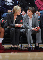 STANFORD, CA - February 27, 2014: Stanford Cardinal's Kate Paye and Tara VanDerveer during Stanford's 83-60 victory over Washington at Maples Pavilion.