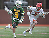 Ryan Pallonetti #3 of Ward Melville, left, gets pressured by Jack Golden #7 of Chaminade during a non-league varsity boys lacrosse game at Chaminade High School on Saturday, April 7, 2018. Ward Melville won by a score of 11-7.