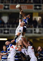Levi Douglas of Bath Rugby wins the ball at a lineout. Anglo-Welsh Cup match, between Bath Rugby and Leicester Tigers on November 10, 2017 at the Recreation Ground in Bath, England. Photo by: Patrick Khachfe / Onside Images
