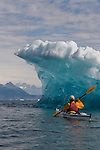 Alaska, Prince William Sound, Sea kayaker, Iceberg, Columbia Bay, Columbia Glacier, USA