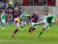 26th December 2019; Tynecastle Park, Edinburgh, Scotland; Scottish Premiership Football, Heart of Midlothian versus Hibernian FC; Martin Boyle of Hibernian gets a shot on goal  - Editorial Use
