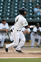 Second baseman Giovanny Alfonzo (6) of the Columbia Fireflies bats during a game against the Charleston RiverDogs on Wednesday, August 29, 2018, at Spirit Communications Park in Columbia, South Carolina. Charleston won, 6-1. (Tom Priddy/Four Seam Images)