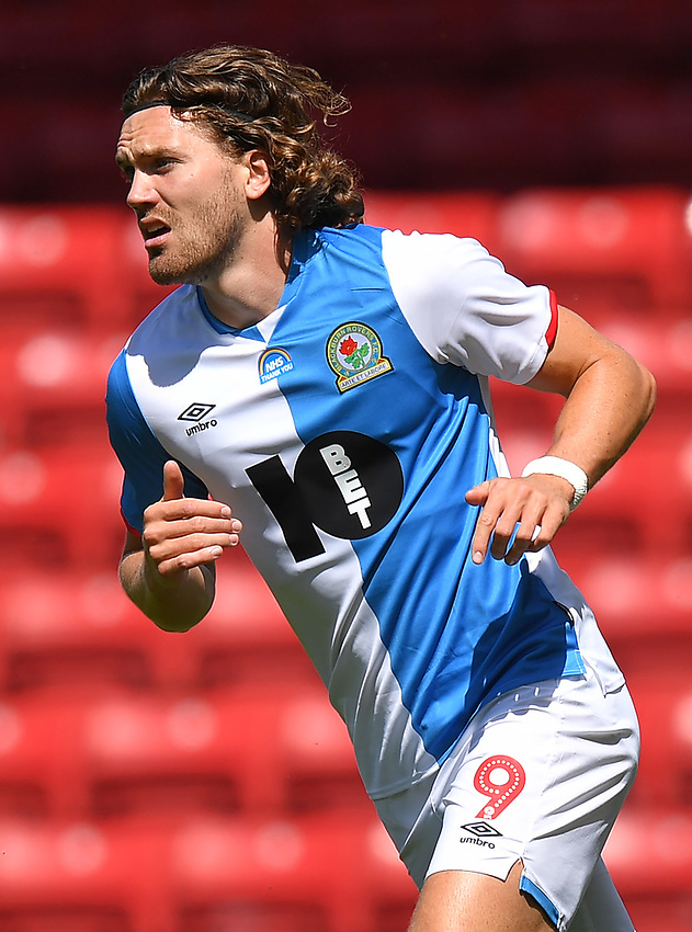 Blackburn Rovers' Sam Gallagher with the NHS Thank You badge visible<br /> <br /> Photographer Dave Howarth/CameraSport<br /> <br /> The EFL Sky Bet Championship - Blackburn Rovers v Bristol City - Saturday 20th June 2020 - Ewood Park - Blackburn<br /> <br /> World Copyright © 2020 CameraSport. All rights reserved. 43 Linden Ave. Countesthorpe. Leicester. England. LE8 5PG - Tel: +44 (0) 116 277 4147 - admin@camerasport.com - www.camerasport.com